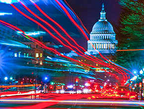 Lights of traffic in DC at night