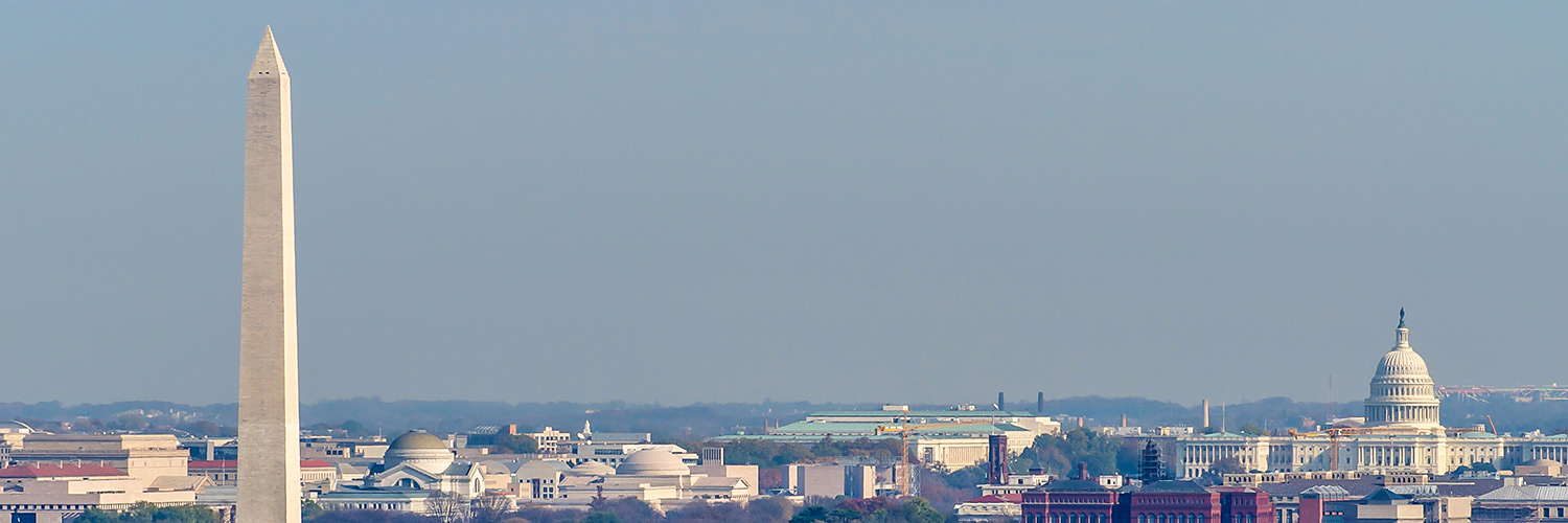 D.C. skyline with monuments