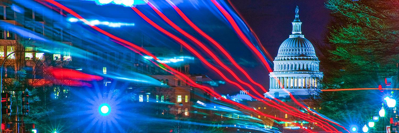 Washington street with lights